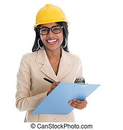 indien, femme, construction, ingénieur