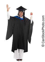 indien, femme, diplômé, à, fond blanc