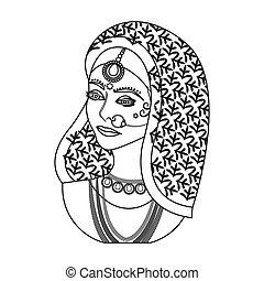 indien, femme, icône, dans, contour, style, isolé, blanc,...