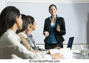 indien, femme, presentation., business