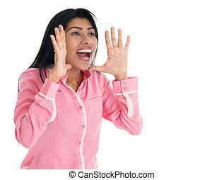indien, femme, shouting.