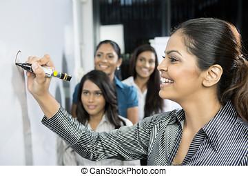 indien, femmes affaires, discuter, ideas.