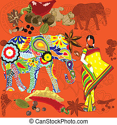 indien, fond, seamless, sym