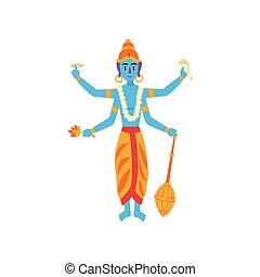 indien, gardien, dieu, illustration, vishnu, vecteur, fond, univers, blanc