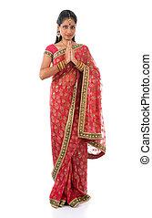 indien, girl, dans, a, salutation, pose