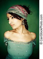 indien, girl