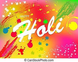 indien, illustration., holi, heureux, festival, fond, coloré