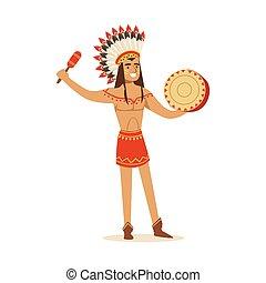 indien, illustration, traditionnel, américain, vecteur, ...