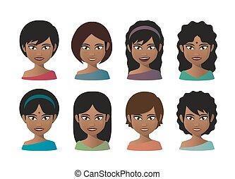 indien, jeunes femmes