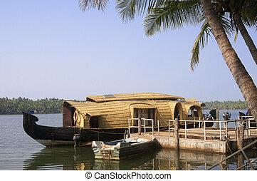 indien, kerala, husbåt, backwaters