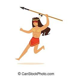 indien, lance, américain, illustration, courant, vecteur, ...