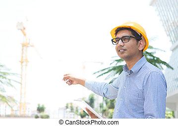 indien, mâle, entrepreneur, ingénieur