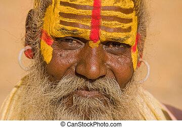 indien, man)., (holy, jaisalmer, india., sadhu, rajasthan