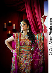 indien, mariée, debout