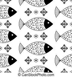 indien, modèle, flèches, seamless, ornements, américain, vecteur, arrière-plan noir, ethnique, poissons, géométrique, blanc, indigène