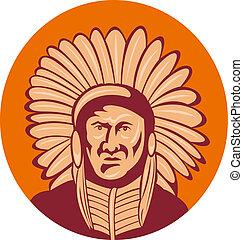 indien natif, américain, chef
