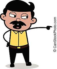 indien, père, -, illustration, cris, vecteur, dessin animé, agression, homme
