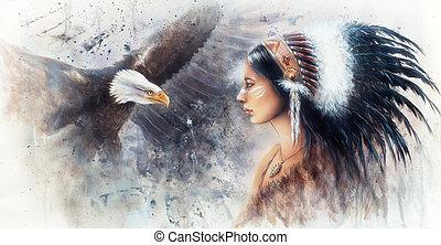 indien, peinture, g, belle femme, airbrush, porter, jeune