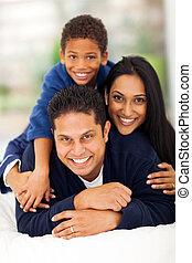 indien, pyramide, adorable, lit, famille