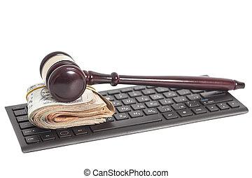indien, roupie, monnaie, clavier ordinateur, marteau, droit & loi, notes