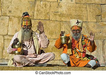 indien, sadhu, homme saint