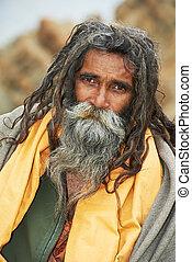 indien, sadhu, moine