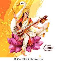 indien, saraswati, puja, panchami, illustration, vasant, ...