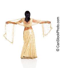 indien, saree, dos femme, vue