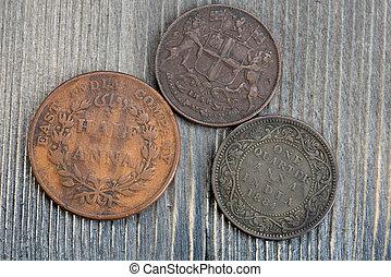 indien, selskab, mønter, gamle, øst