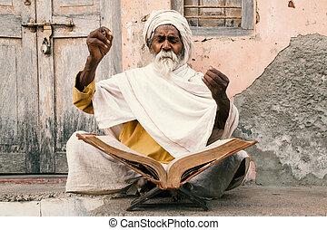 indien, speaking., sadhu, vieux