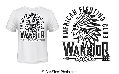 indien, t-shirt, impression, guerrier, combat, club