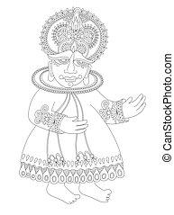 indien, traditionnel, danseur, kathakali, dessin, sud
