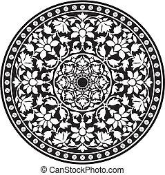 indien, traditionnel, modèle, de, noir