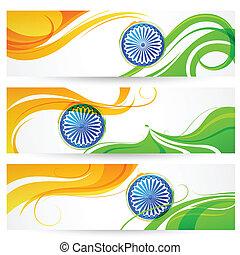 indien, tricolor, baner