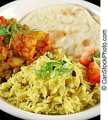 indien, végétarien, curry