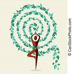 indien, yoga, blad, träd