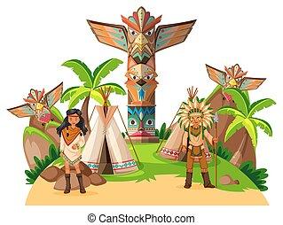 indiens, américain, camp, deux, indigène