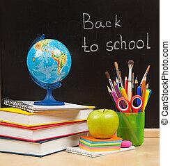 indietro, a, school., scuola, asse, e, libri, e, mela