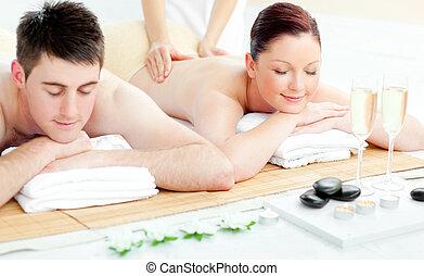indietro, coppia, giovane, charmant, godere, massaggio