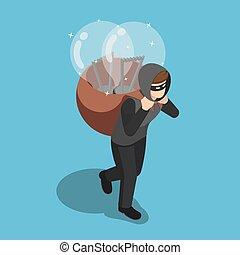 indietro, isometrico, suo, luce, rubato, ladro, idea, portante, bulbo