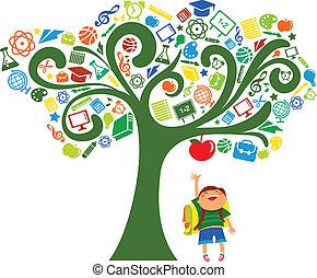 indietro scuola, -, albero, con, educazione, icone