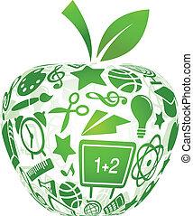 indietro scuola, -, mela, con, educazione, icone