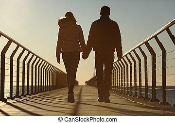 indietro, silhouette, di, uno, coppia camminando, tenere mani