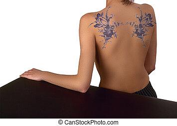 indietro, tatuaggio, lei, donna