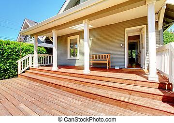 indietro, veranda, di, piccolo, grigio, casa, con, panca