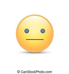 Indifferent emoji cartoon icon. Expressionless emoticon face. Neutral smiley mood.