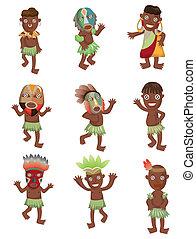 indigène, afrique, dessin animé, icônes