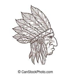 indigène, coiffure, chef indien, tête, plume