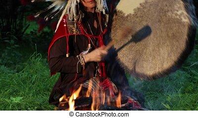 indigène, coiffure, femme, chaman, américain indien