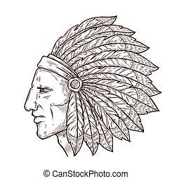 indigène, coiffure, plumes, croquis, chef indien